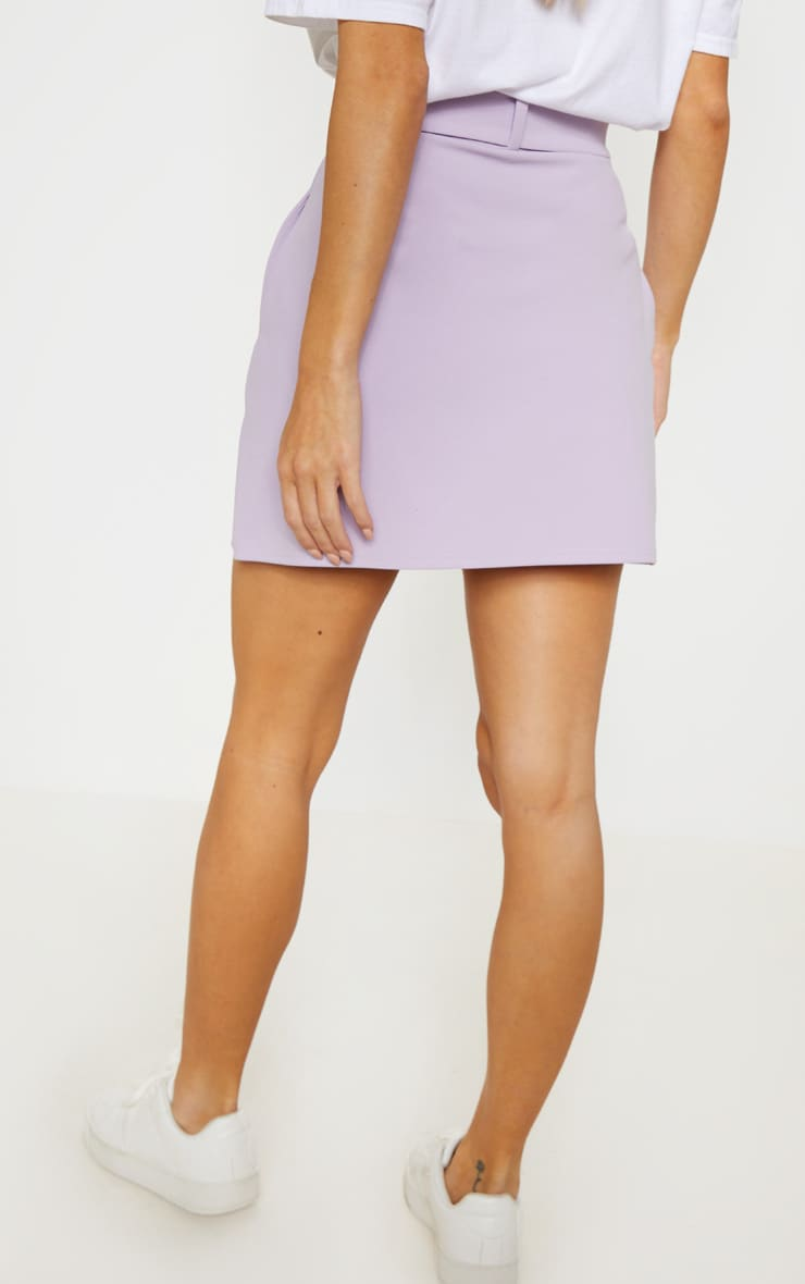 Lilac Belted A Line Mini Skirt  4