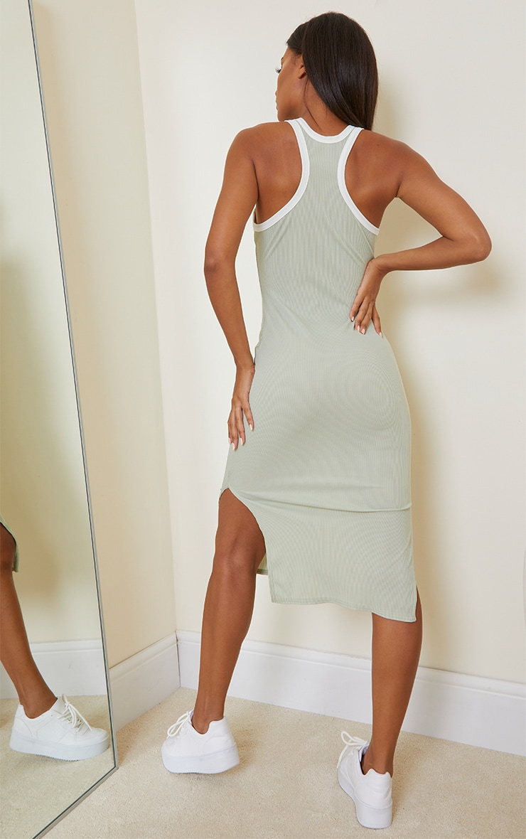 Sage Green Contrast Binding Rib Midi Dress 2
