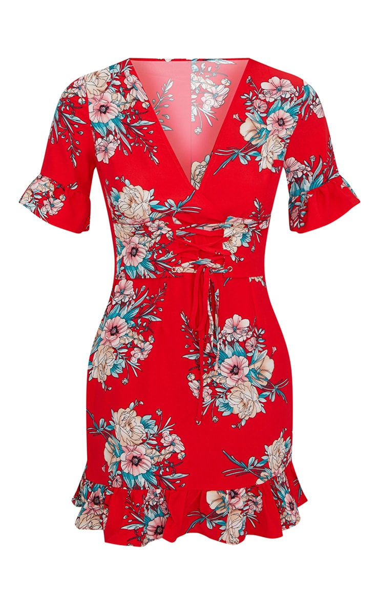 Red Floral Corset Swing Dress 3