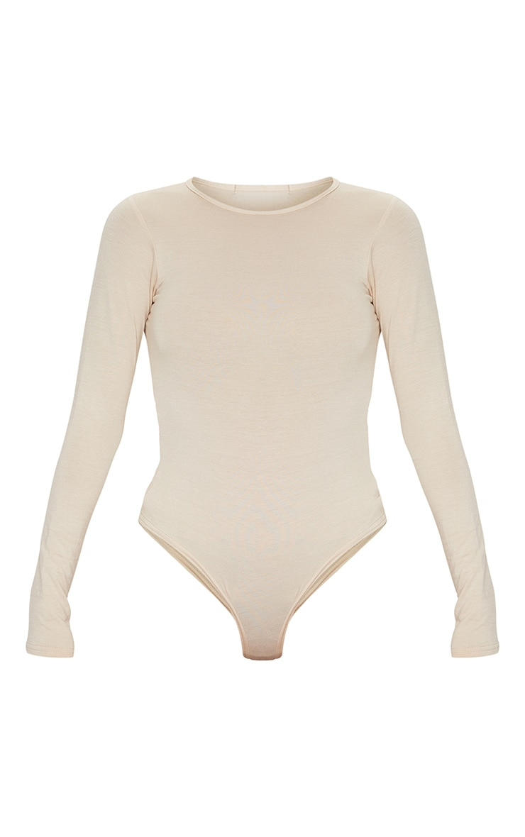 Basic Stone Crew Neck Long Sleeve Bodysuit 5