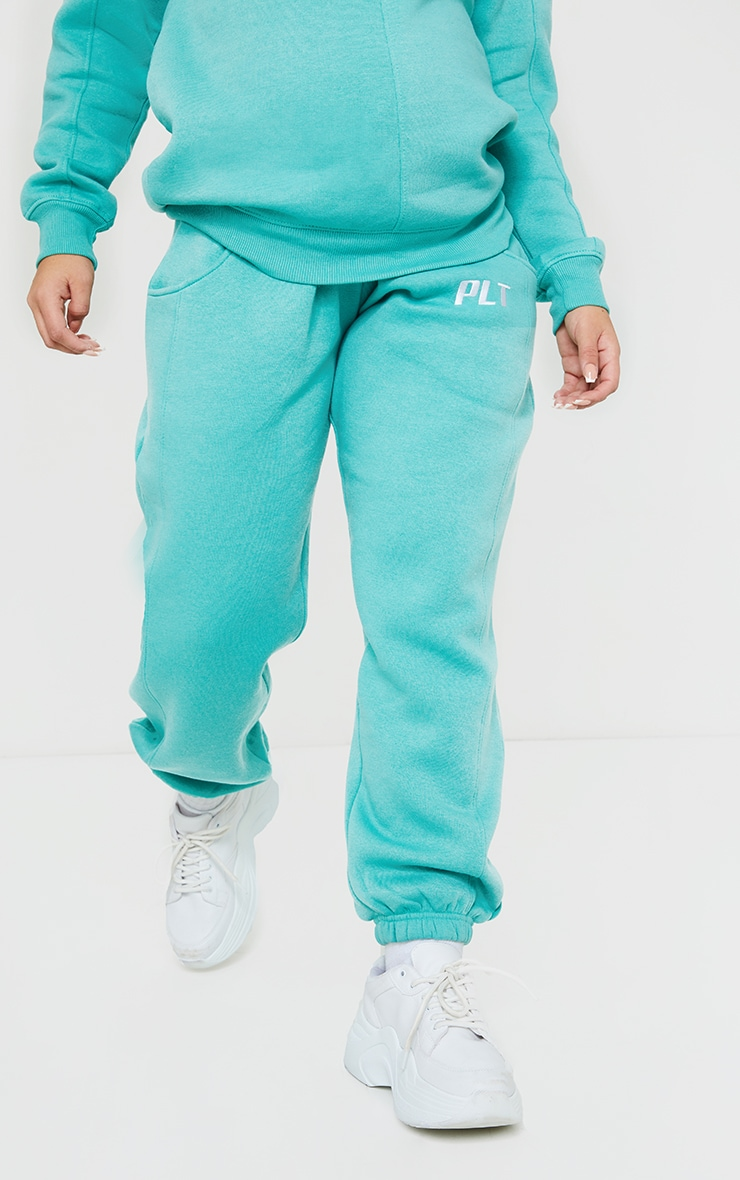 PRETTYLITTLETHING Maternity Washed Green Embroidered Joggers 2