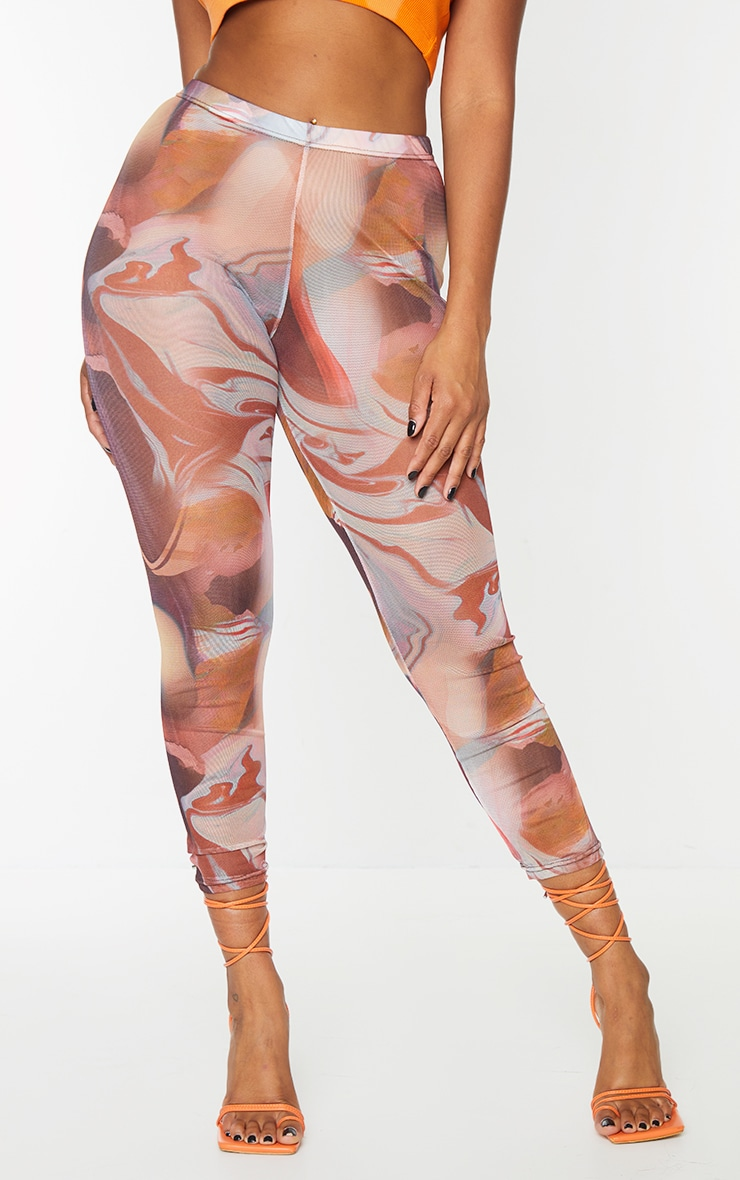 Red Marble Print Printed Mesh Leggings 2