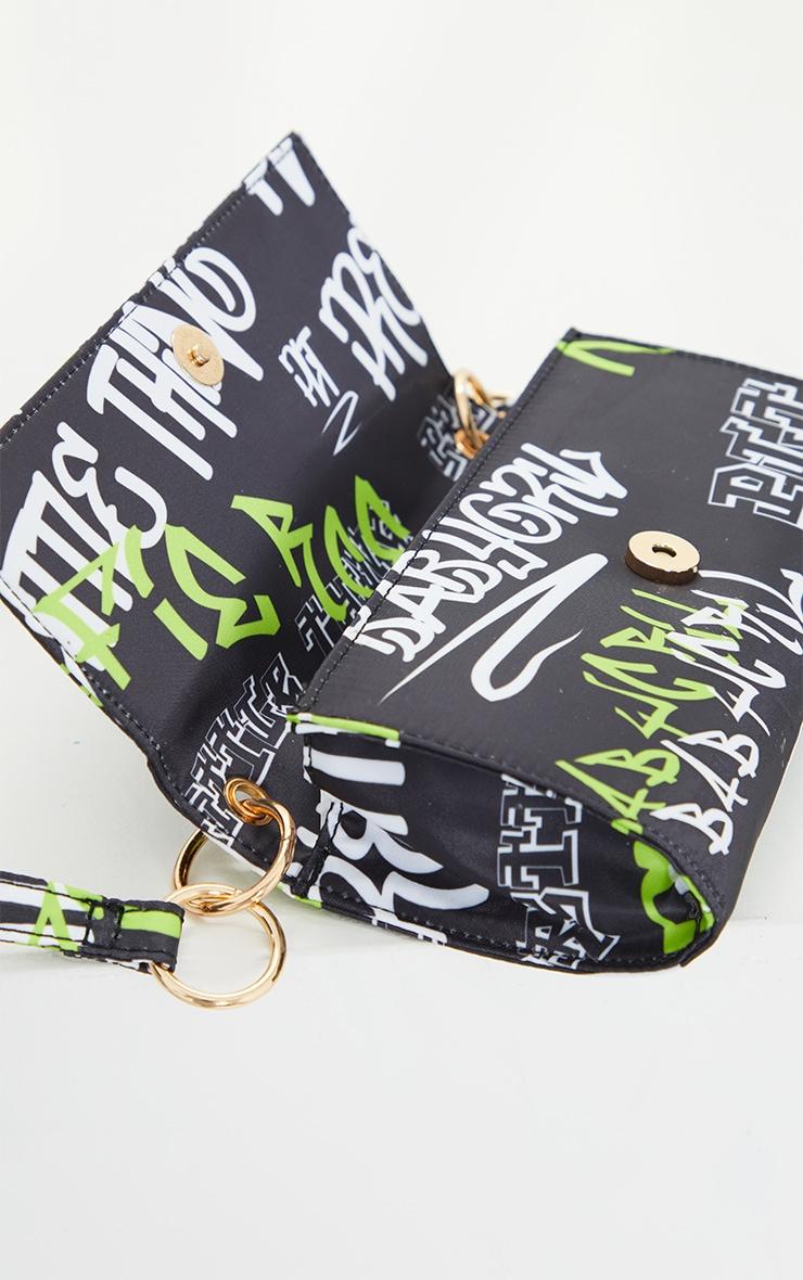 PRETTYLITTLETHING Black Gothic Multi Font Shoulder Bag 4