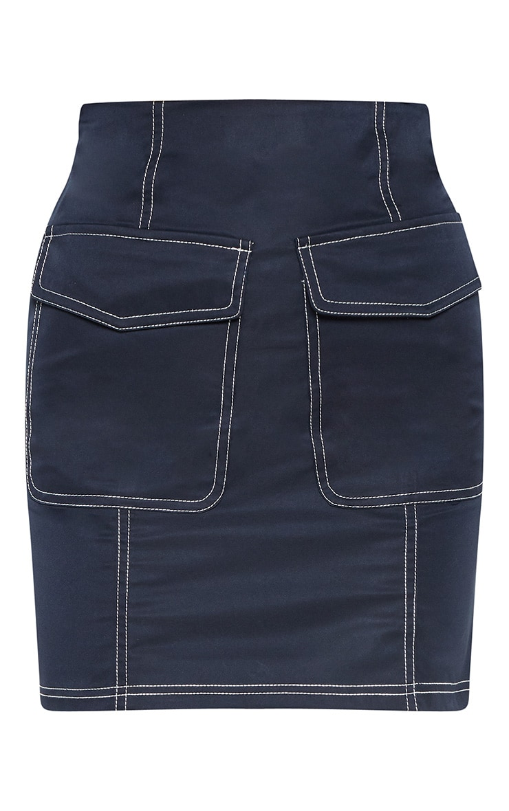 Navy Contrast Stitch Pocket Detail Mini Skirt 3