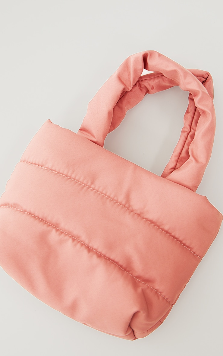 Baby Pink Mini Quilted Nylon Tote Bag 2