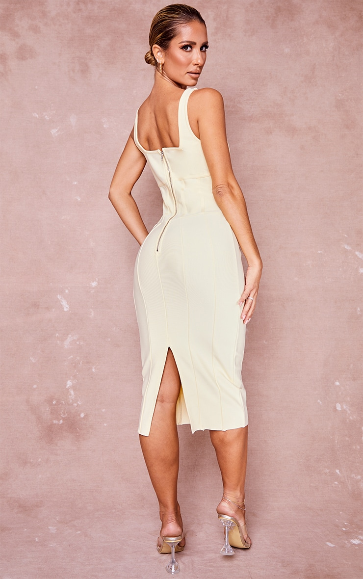 Cream Bandage Panel Detail Sleeveless Midi Dress 2