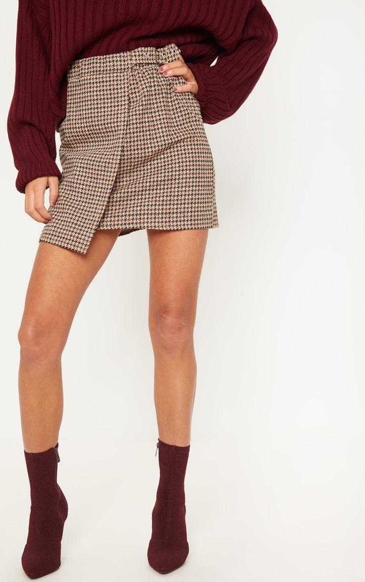 Chocolate Dogtooth Check Buckle Detail Mini Skirt 2