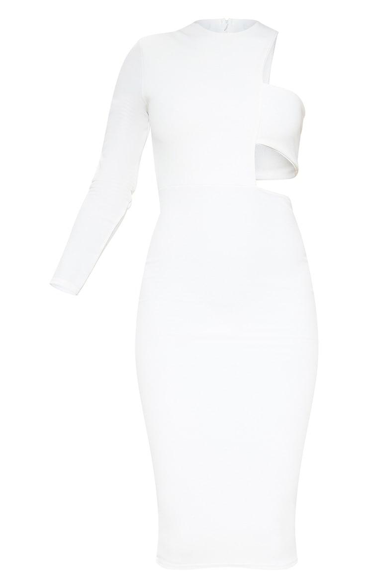 Robe mi-longue blanche à bretelle unique 3