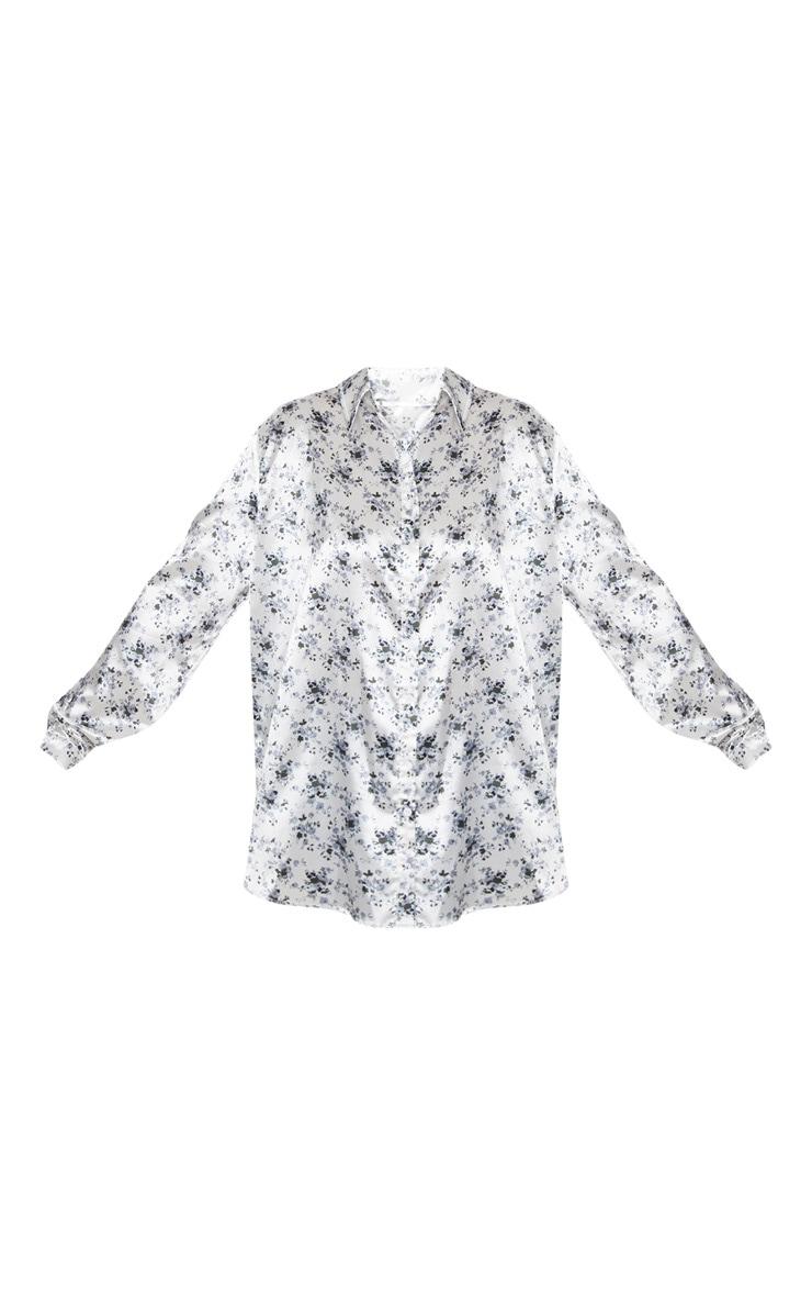 Plus White Floral Print Oversized Shirt   3