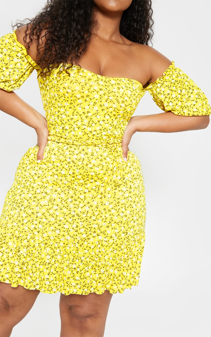 Plus Yellow Ditsy Print Bardot Frill Hem Skater Dress  5