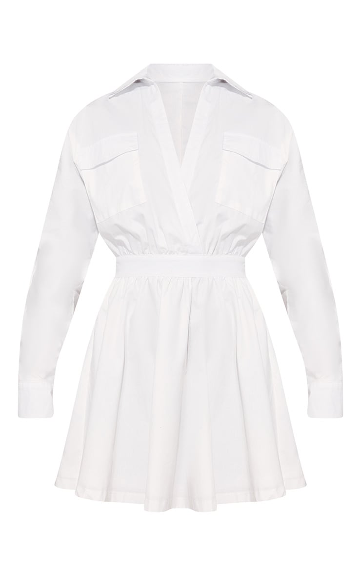 Plus White Utility Plunge Skater Dress 3