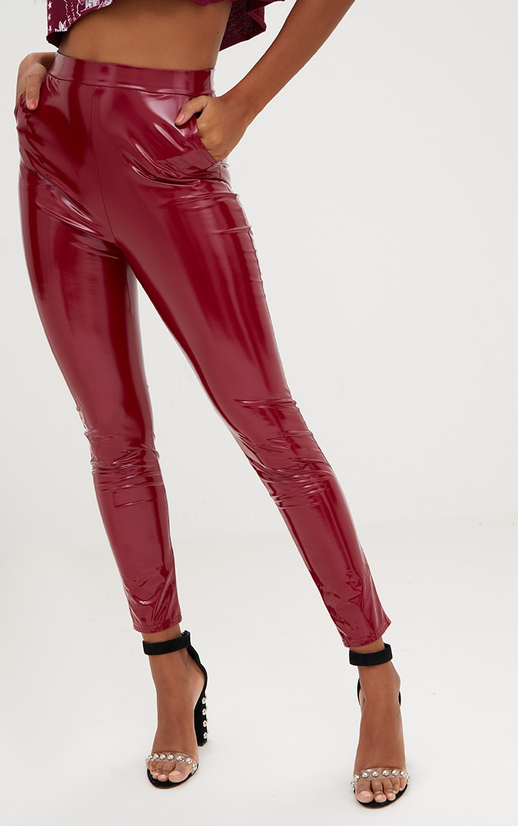 Burgundy Vinyl Leggings 5