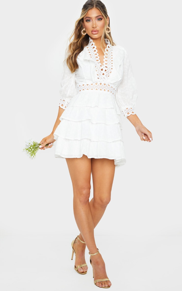 White Lace Trim Broderie Anglaise Tiered Skater Dress 3
