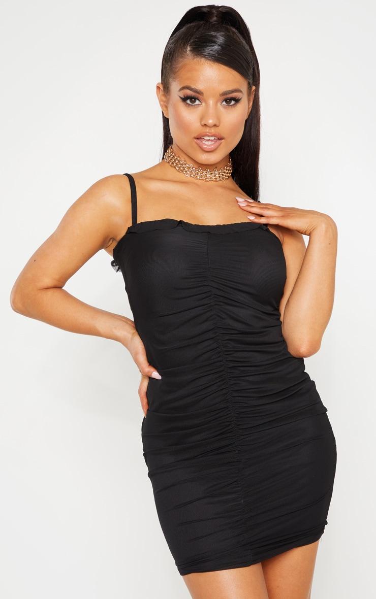Petite Black Mesh Ruched Dress 1
