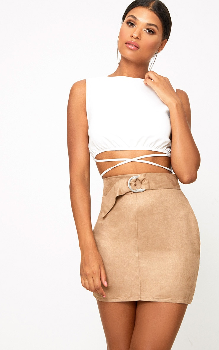 Stone Faux Suede Belted Mini Skirt 1