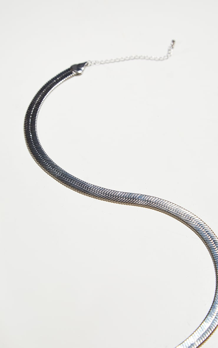 Silver Chunky Snake Chain Necklace 4