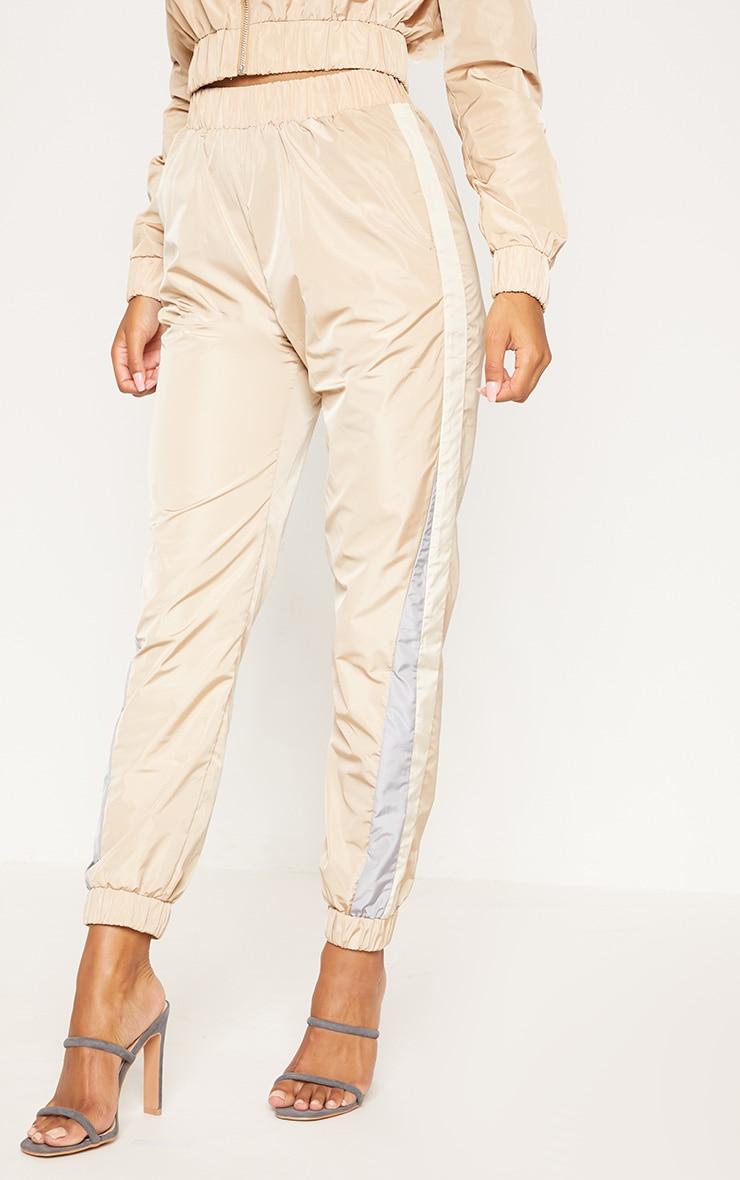 Pantalon de jogging gris pierre à bandes 2