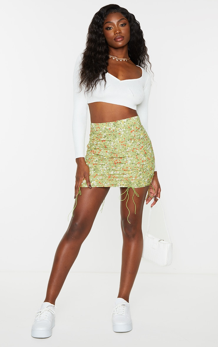 Sage Green Ditsy Floral Ruched Detail Mini Skirt