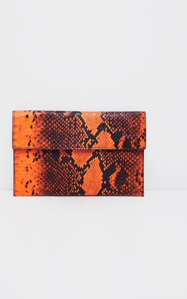 Neon Orange Snake Clutch Bag 2