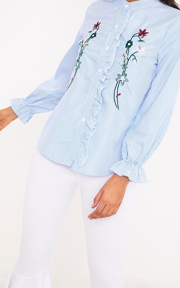 Linette Blue Embroidered Stripe Shirt 5