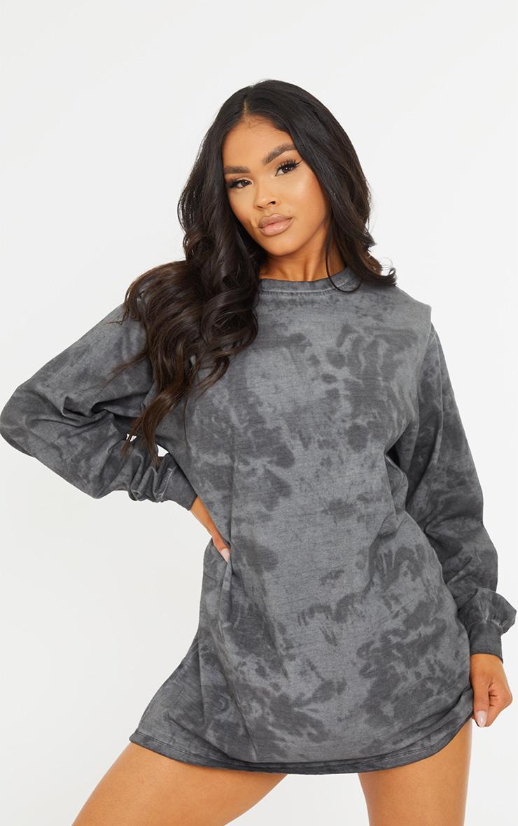 Black Acid Wash Shoulder Pad T-shirt Dress 1