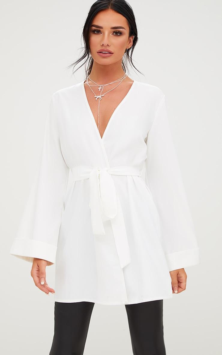 White Oversized Longline Blazer 1