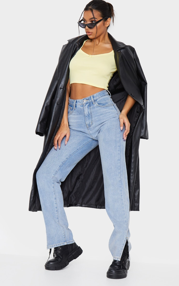 Lemon Rib Bow Puff Sleeve Crop Top 3