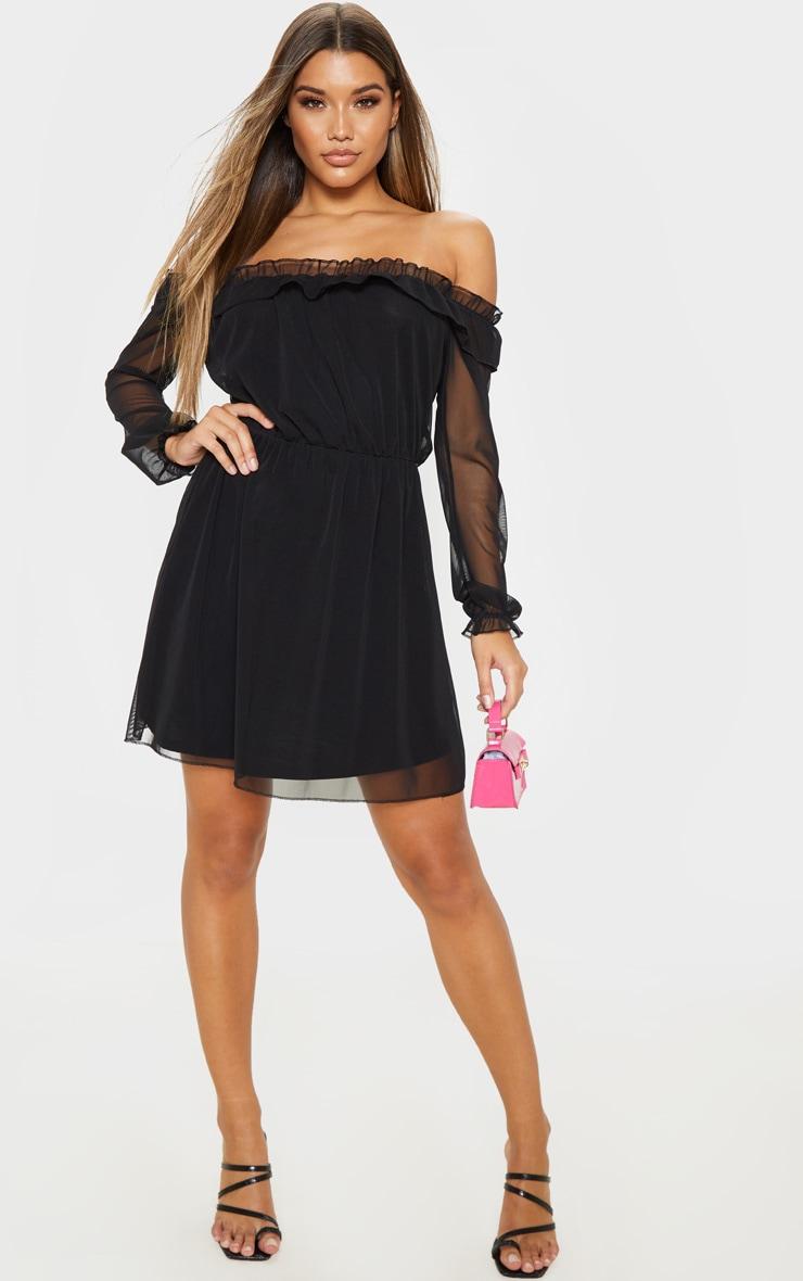 Black Mesh Bardot Skater Dress  4