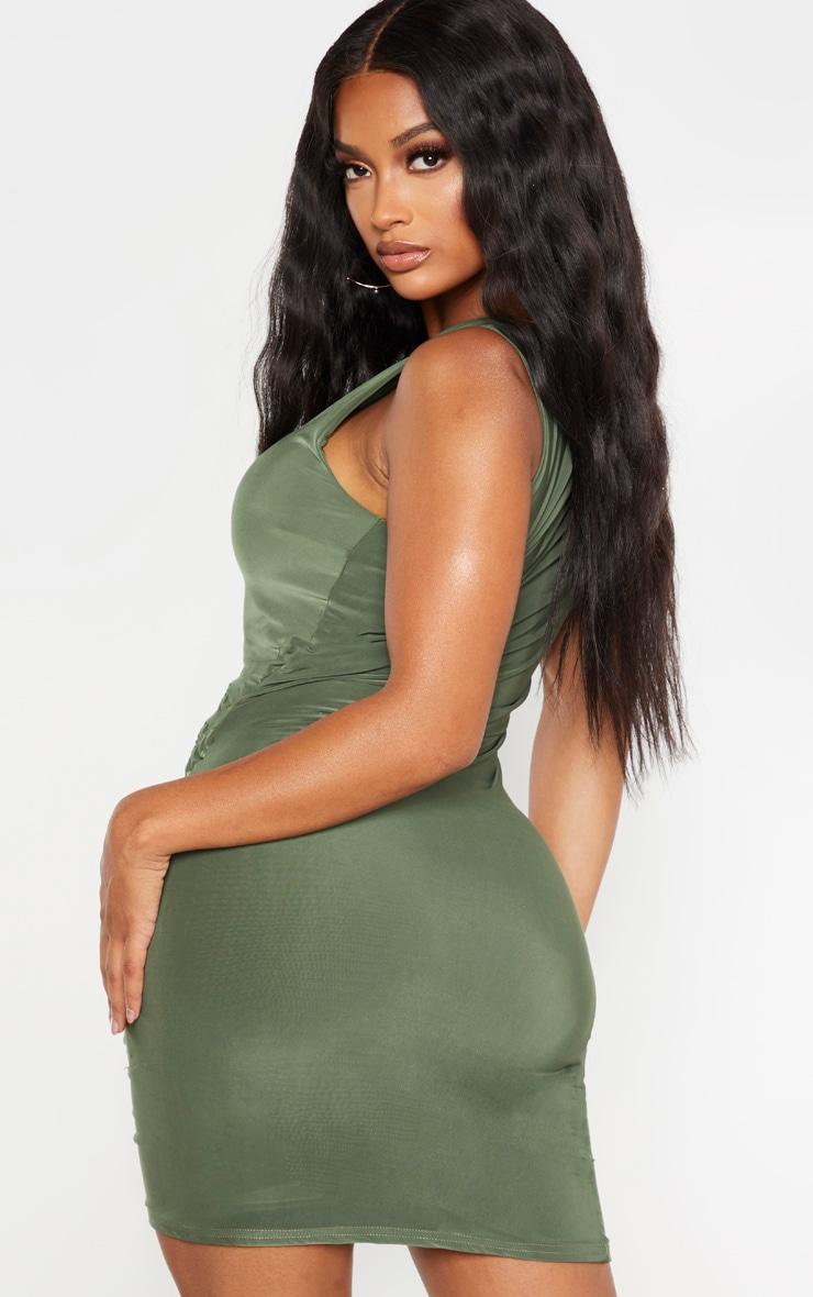 Shape Khaki Slinky Ruched Side Bodycon Dress 2