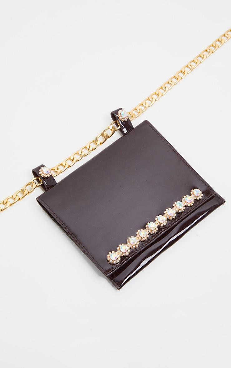 Black Patent Crystal Border Chain Belt Bag 2