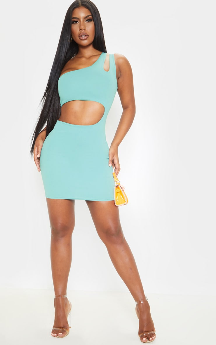 Dusty Turquoise One Shoulder Multi Cut Out Bodycon Dress 4