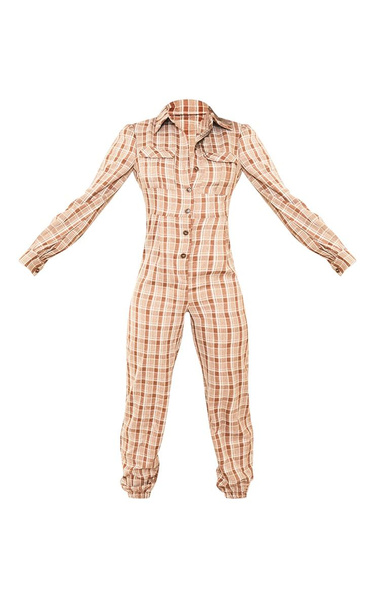 Tall Brown Check Pocket Detail Shirt Jumpsuit 5