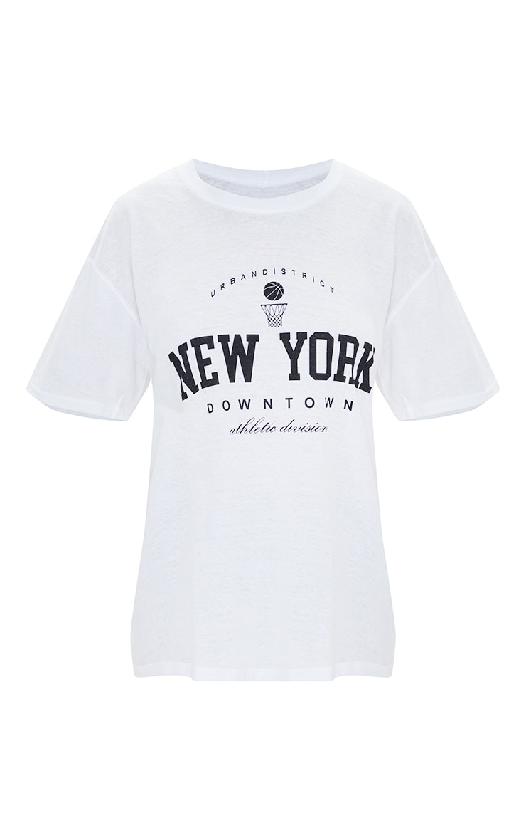 White New York Downtown Slogan Printed T Shirt 5