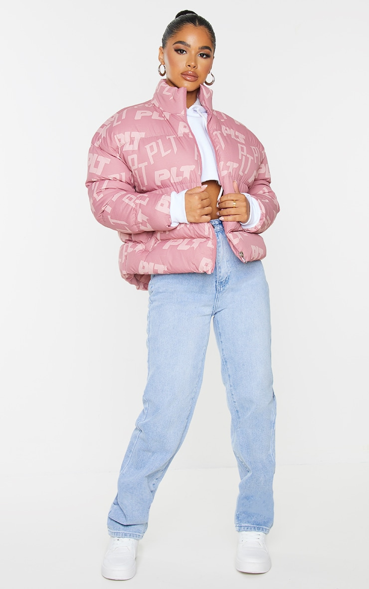 PRETTYLITTLETHING Petite Pink Printed Cropped Puffer 3