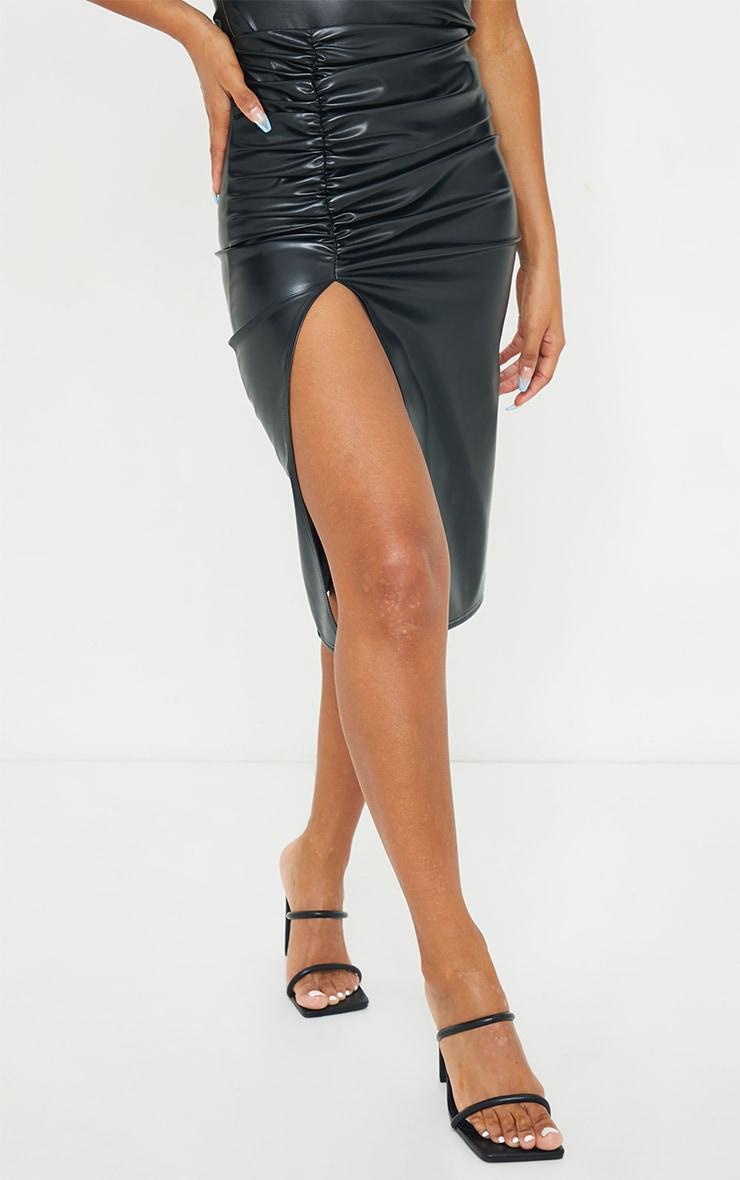 Black PU Ruched Split Leg Midi Skirt 2