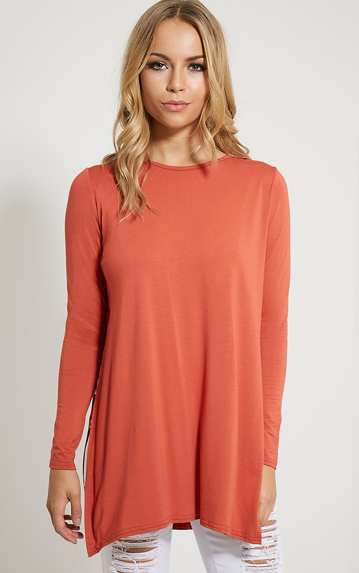 Basic Rust Long Sleeve Side Split Top 1