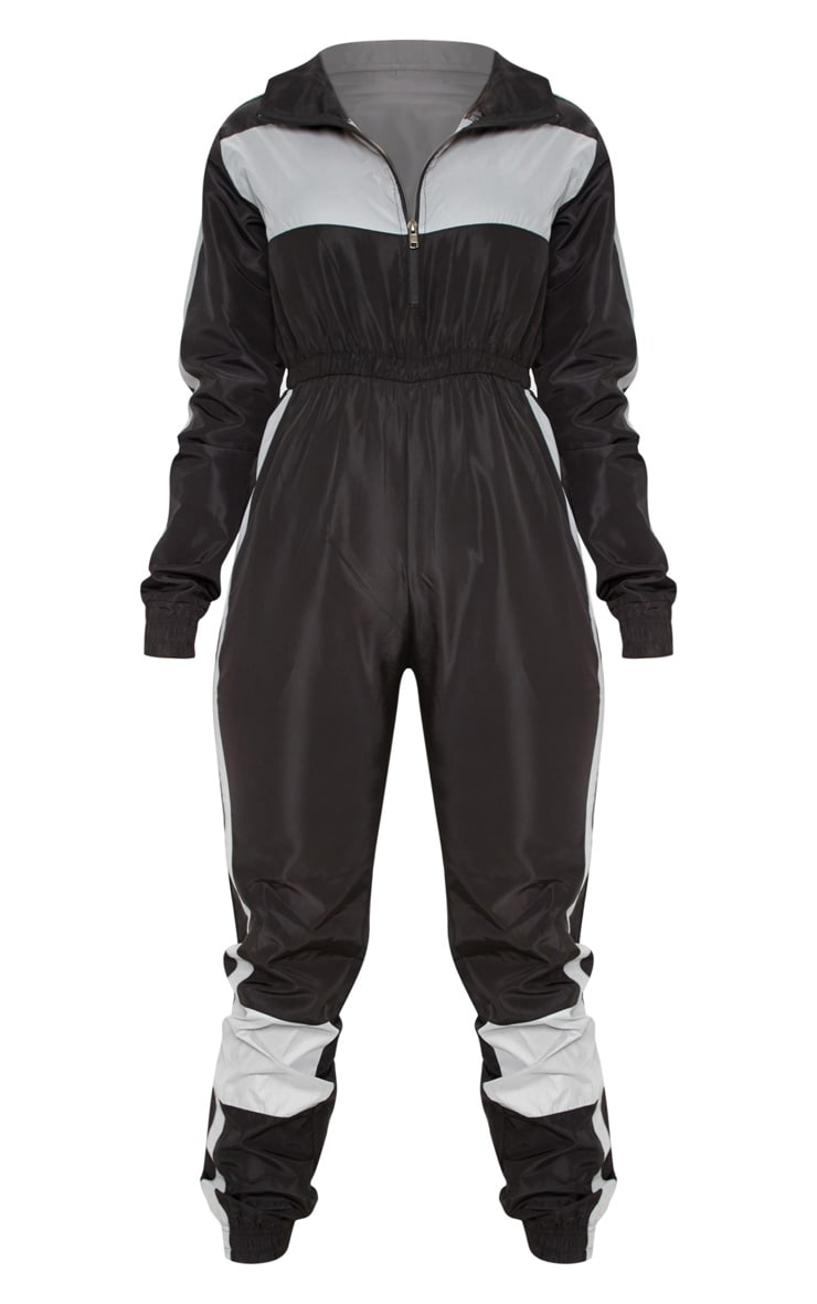 Black Shell Reflective Panelled Jumpsuit 3