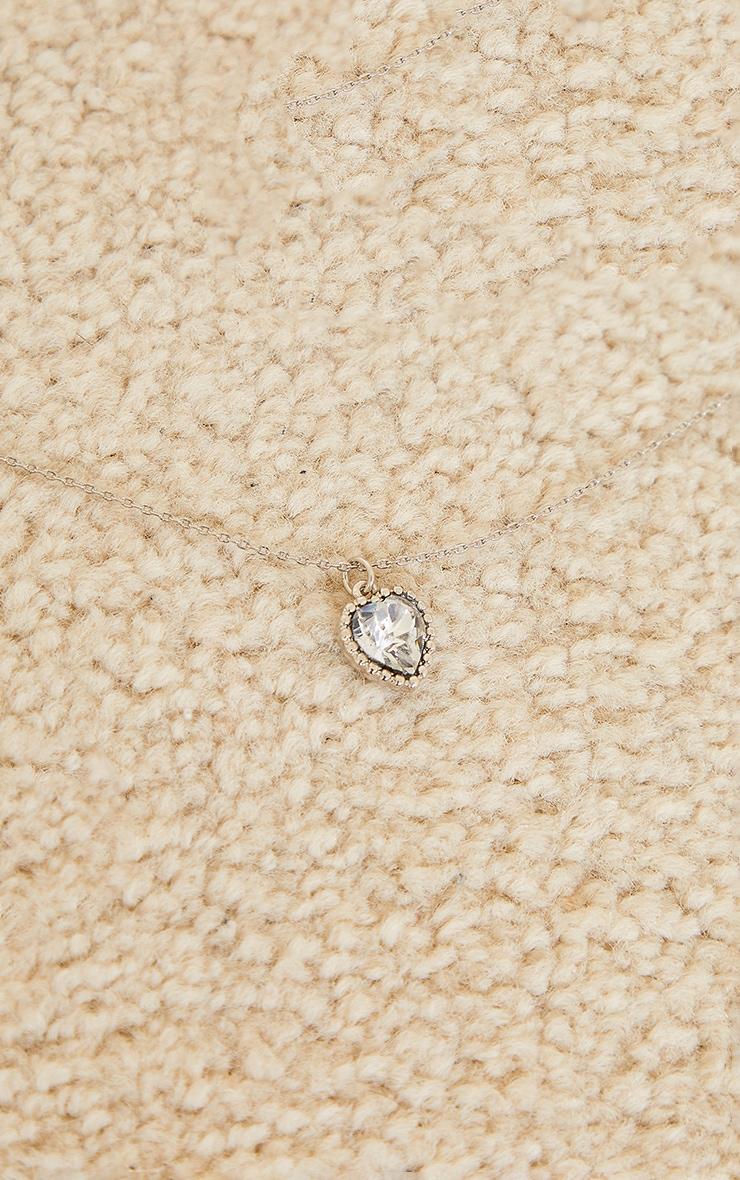 Silver Mini Diamante Heart Charm Necklace 4