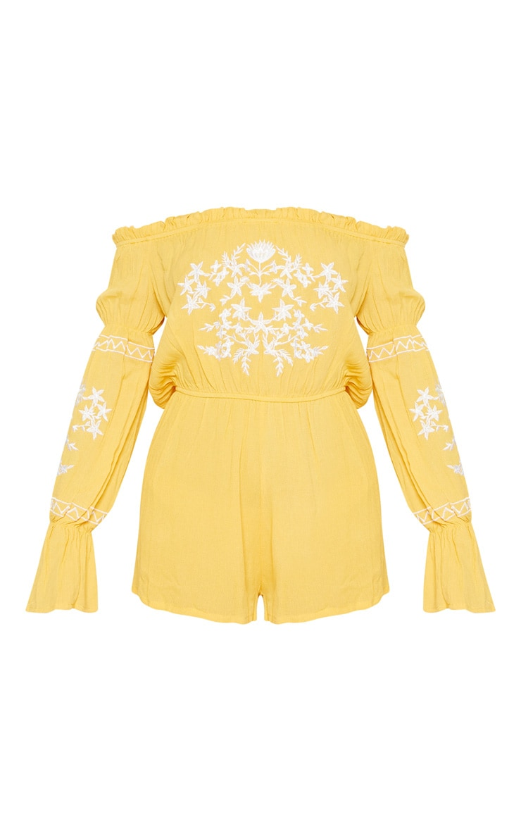 Mustard Bardot Embroidered Playsuit 3