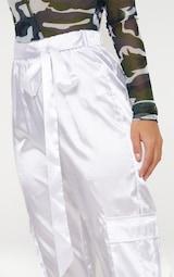 85995fb12fe8bd Petite White Satin Cargo Trousers | Petite | PrettyLittleThing