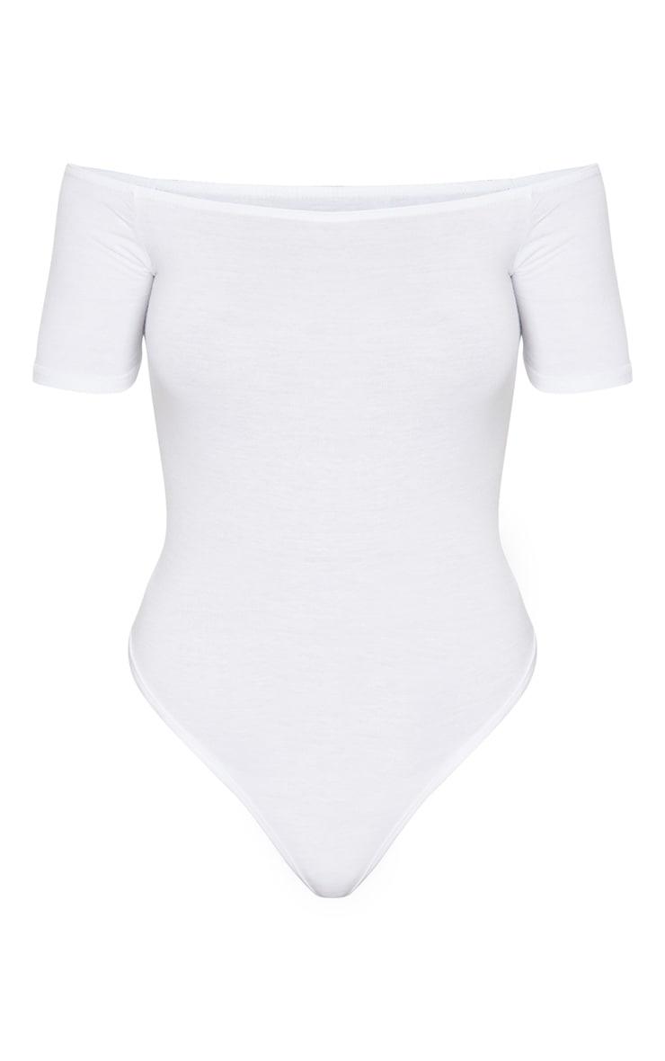 Black/White 2 Pack Basic Bardot Short Sleeve Thong Bodysuit 5