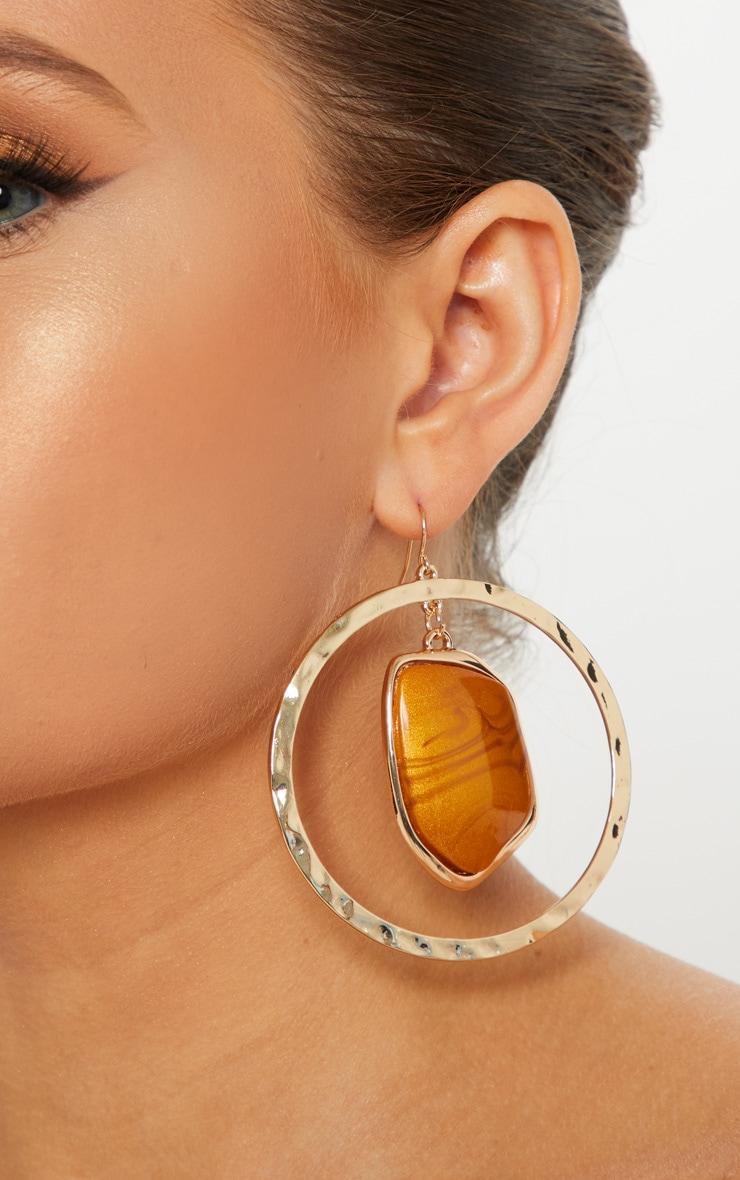Gold Gemstone Charm Hammered Hoop Earrings