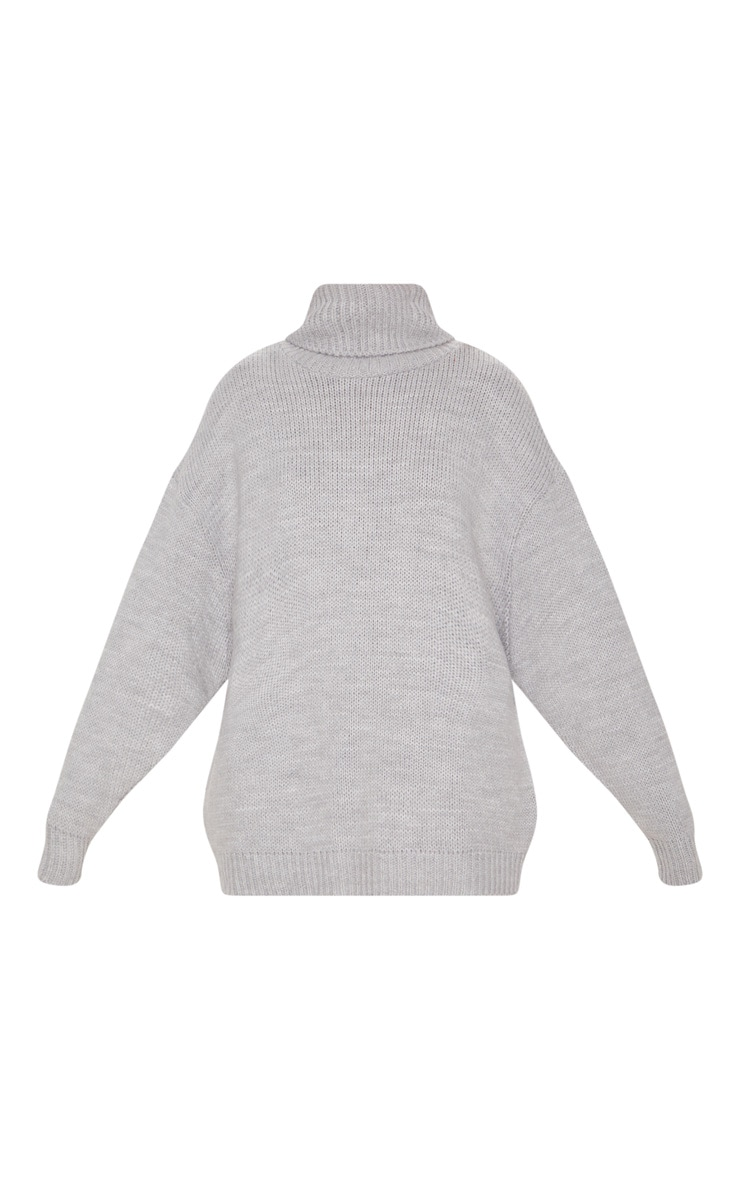 Grey High Neck Fluffy Knit Sweater  3