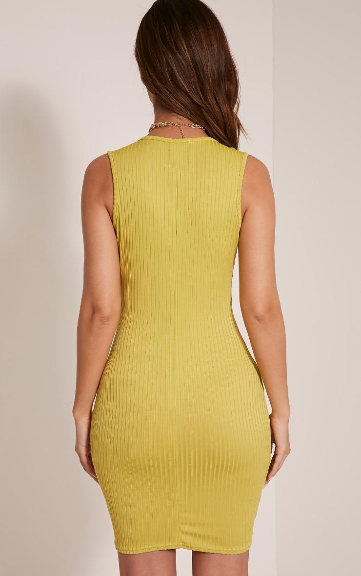 Gayna Dark Lime Plunge Neck Ribbed Bodycon Dress 2
