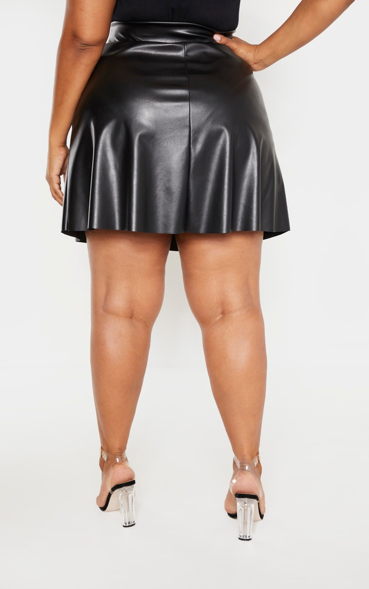 Plus Black Faux Leather Belted Skater Skirt 4