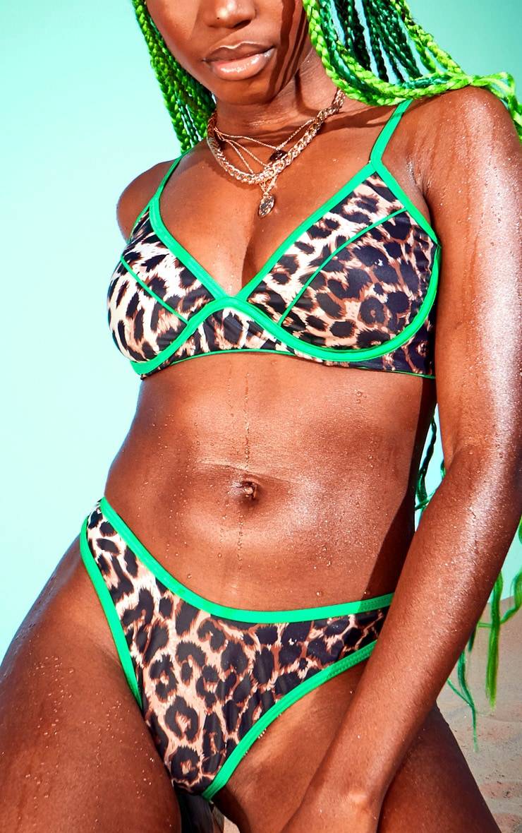 Leopard Contrast Binding Cheeky Bikini Bottom 1