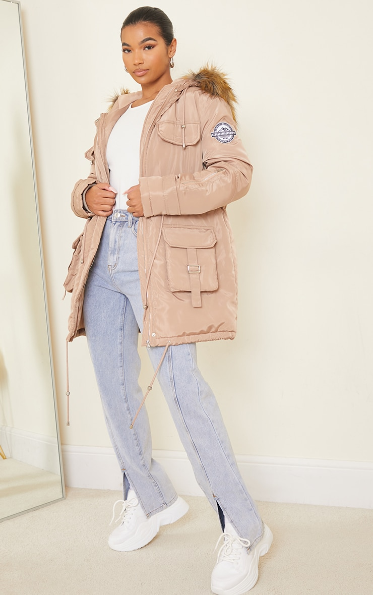 PRETTYLITTLETHING Recycled Taupe Nylon Faux Fur Hooded Parka Jacket 3