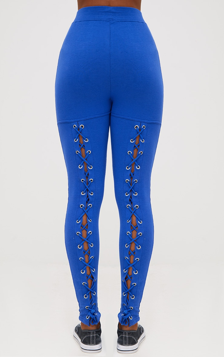 Cobalt Back Lace Up Skinny Trousers 4
