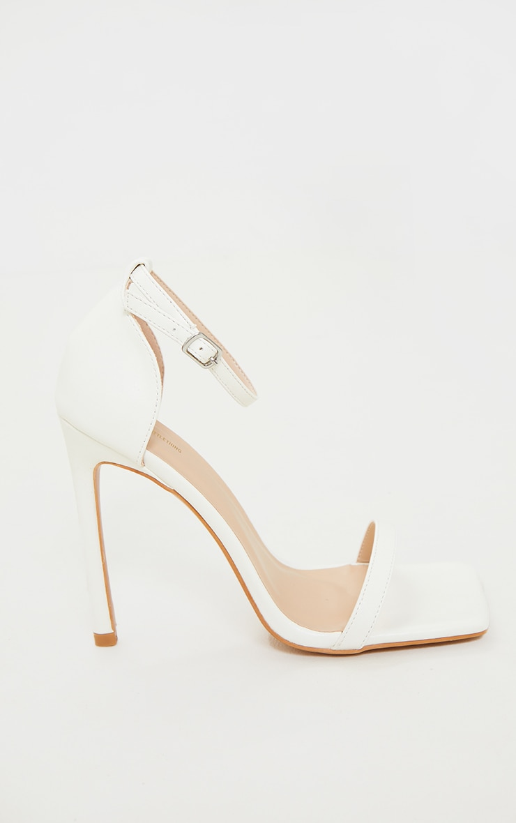 White Clover Barely There Strappy Squared Toe Heeled Sandals 4