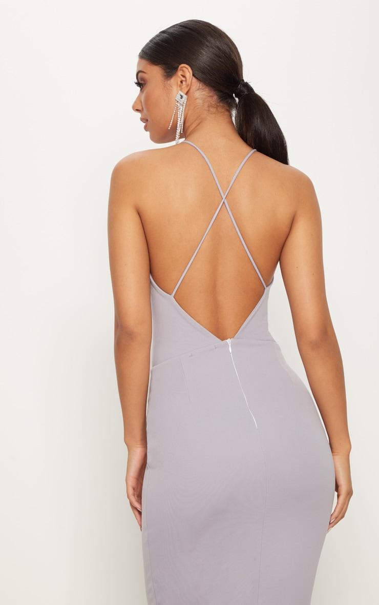 Ice Grey Cross Back Fishtail Maxi Dress 5